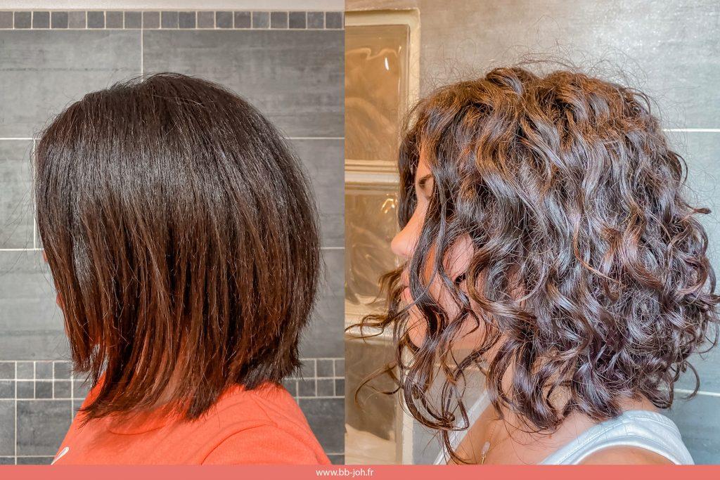 avant après cheveux naturels bouclés frisés